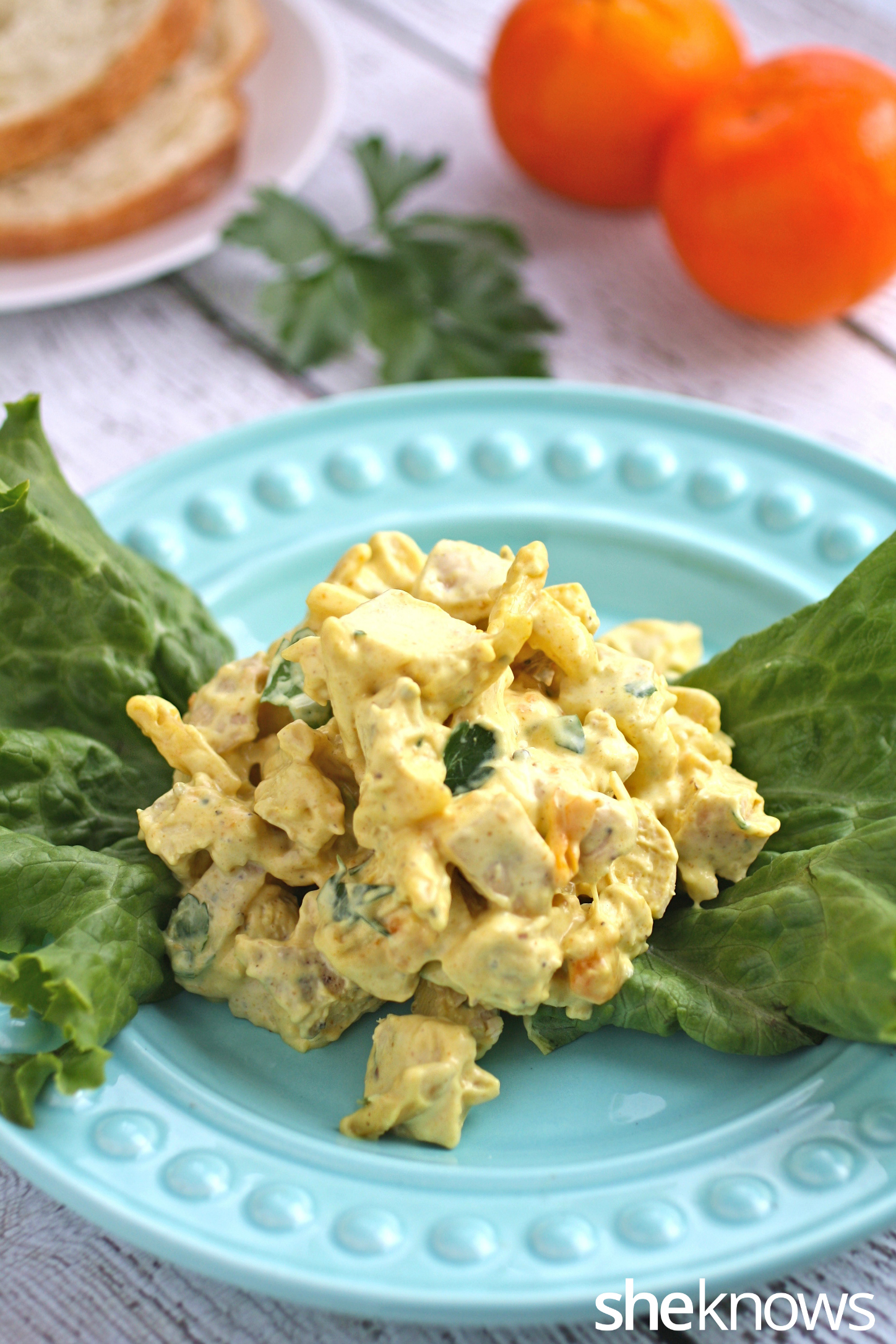 Coronation chicken salad with toasted almonds is fit for a queen