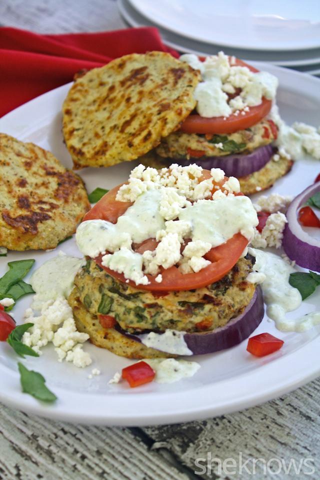 Greek chicken burgers with cauliflower buns and tzatziki recipe