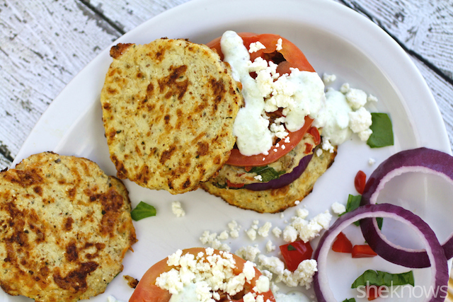 What an all around delight: Greek chicken burgers with cauliflower buns and tzatziki