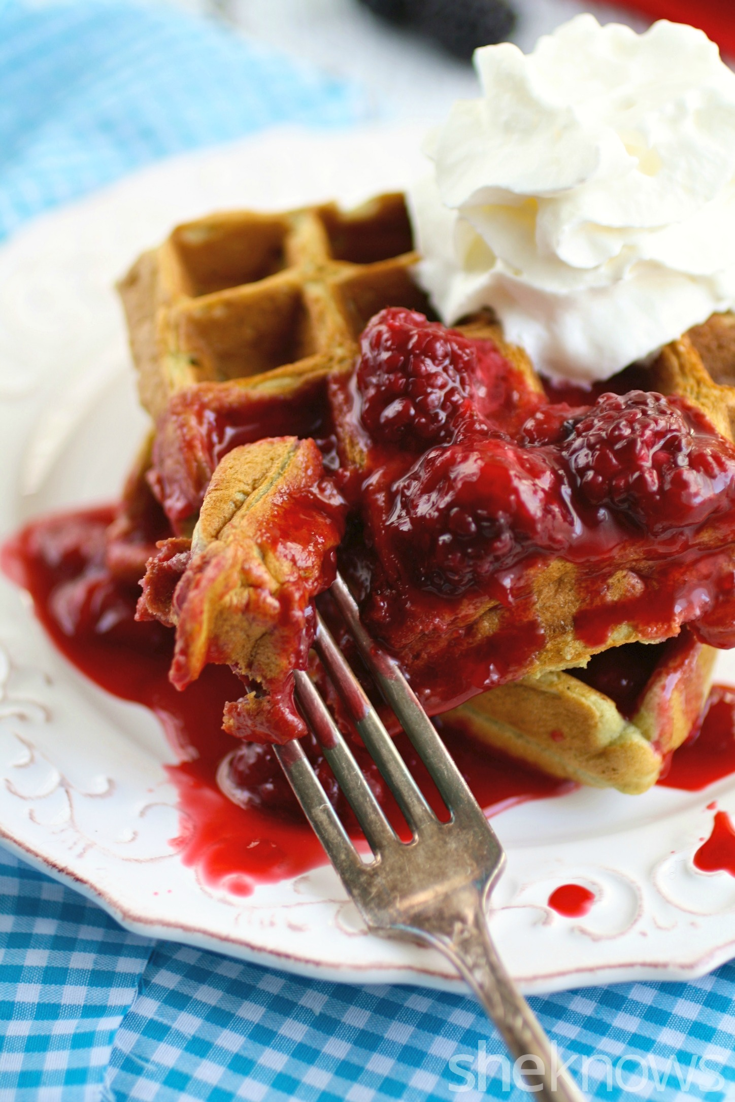 You'll want to devour these waffles with strawberry-blackberry compote