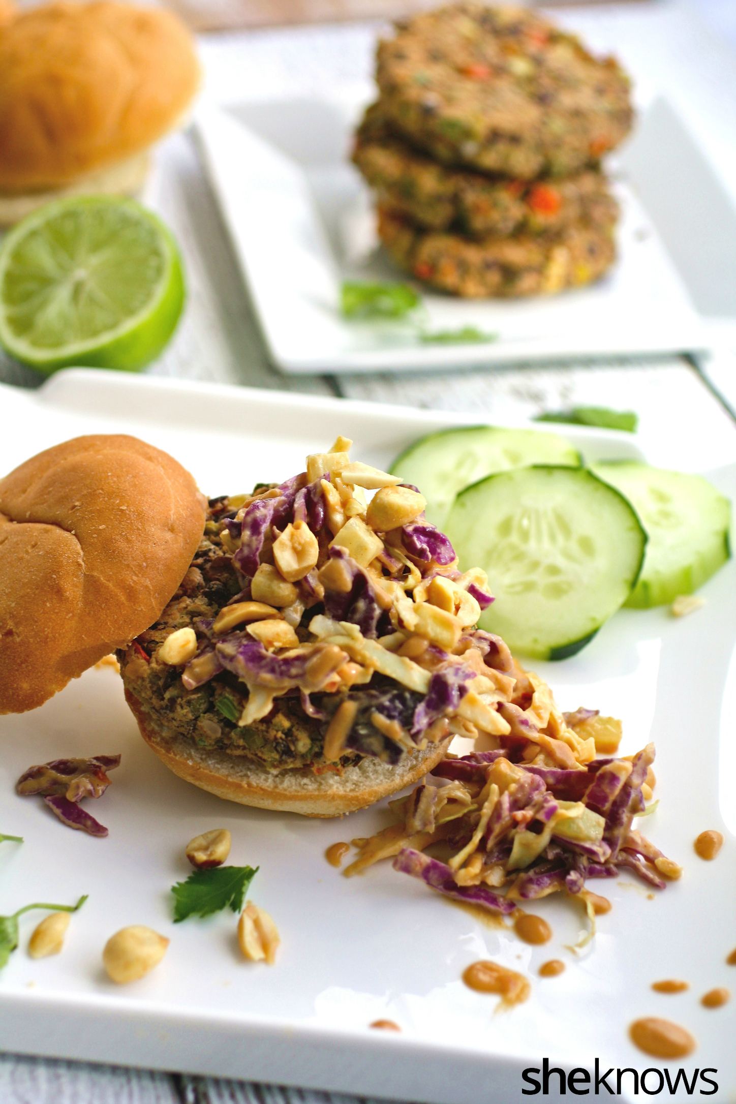 Vegan Thai sliders with spicy peanut slaw are perfet in each hand
