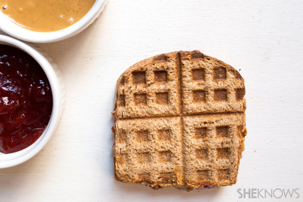Waffled peanut butter and jelly