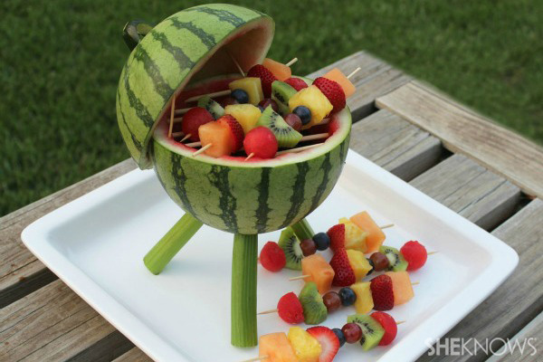 Watermelon grill with fruit kabobs | SheKnows.com