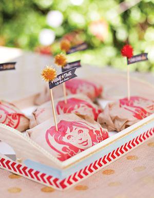 Craft pom toothpicks in sandwiches