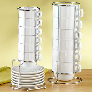 White Stacking Mugs or Espresso Cups