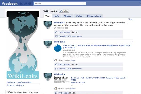 Wikileaks Facebook page will stay up