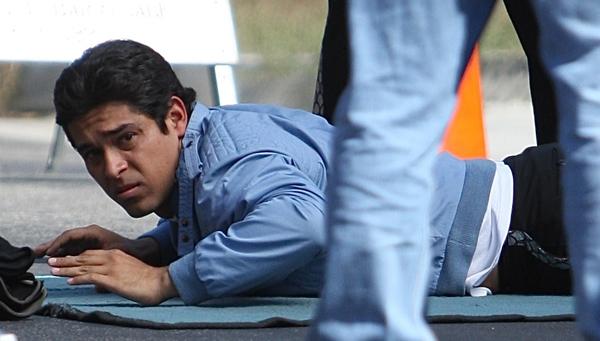 Wilmer Valderrama filming his new Fox series, Ernesto