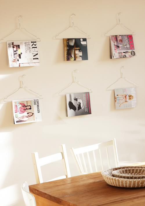 Clothes hanger life hack for organizing magazines