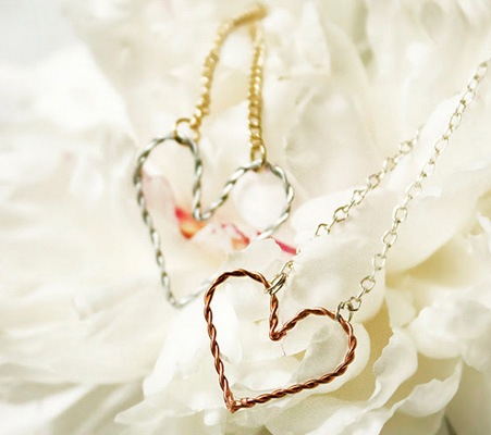Delicate wire heart necklace