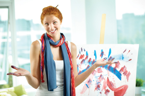 Woman fingerpainting