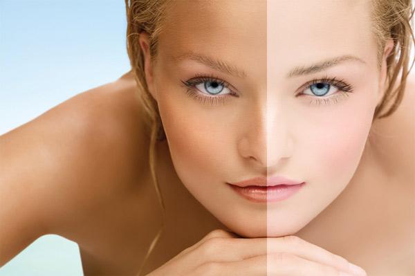 Woman half tanned