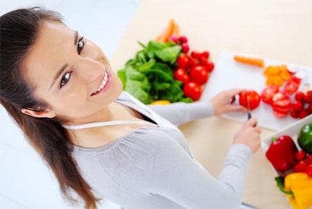 Woman preparing veggies