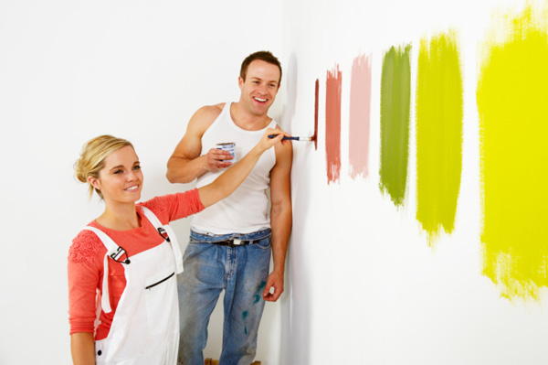 Woman sampling wacky named paint