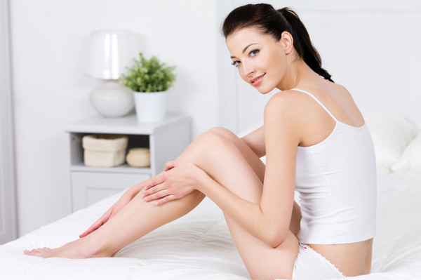 Woman with fresh shaved legs