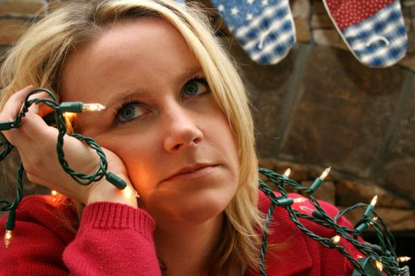 Woman feeling holiday depression