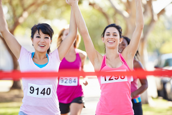 Women at marathin finish line