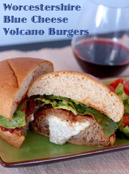 Worcestershire Blue Cheese Volcano Burgers