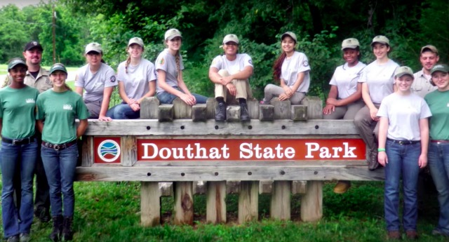 Campers from the YCC program gather in front of a state park in Virginia.