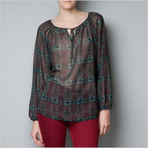 Zara printed tunic blouse