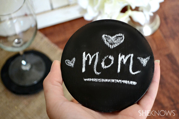 Chalkboard coaster for Mother's Day