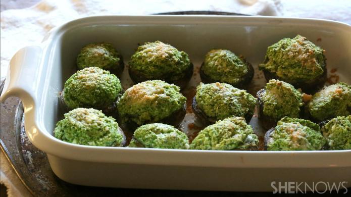 Cauliflower kale-stuffed mushrooms are a healthy