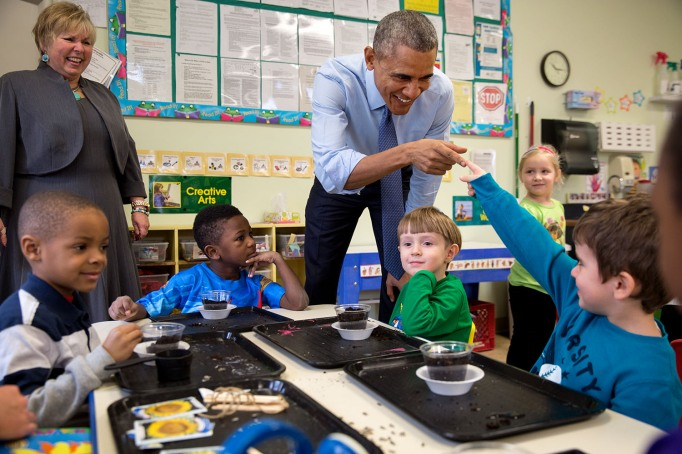 Obama with children in school