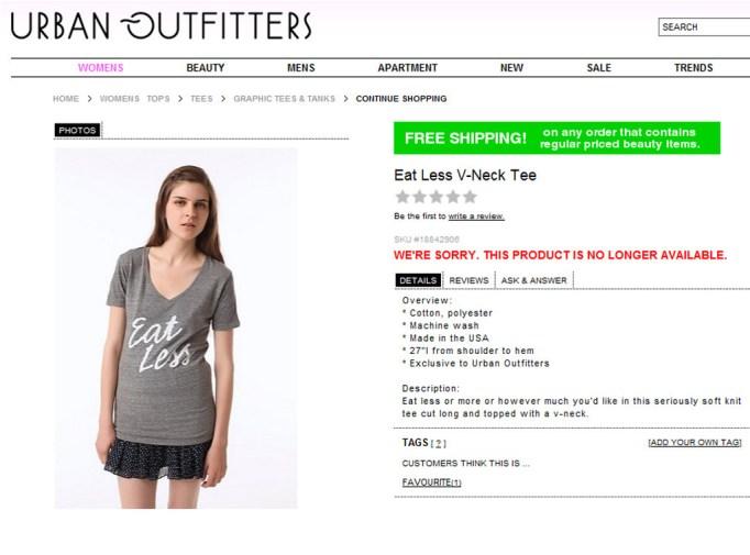 "Shirt that says ""Eat Less"""