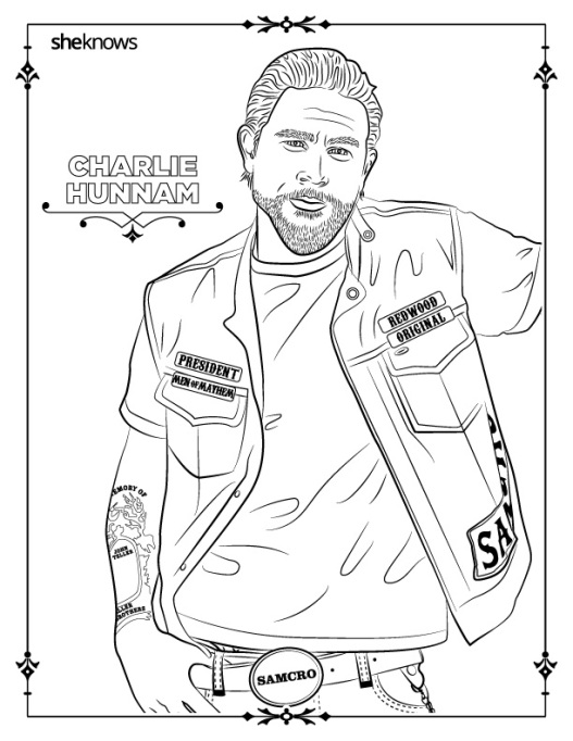 Charlie Hunnam coloring book page