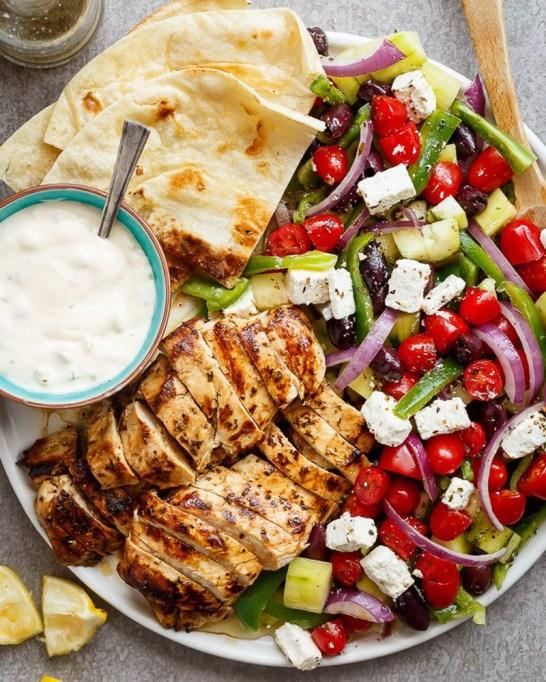 50 Easy Summer Salads: Greek Lemon Garlic Chicken Salad | Summer Eats