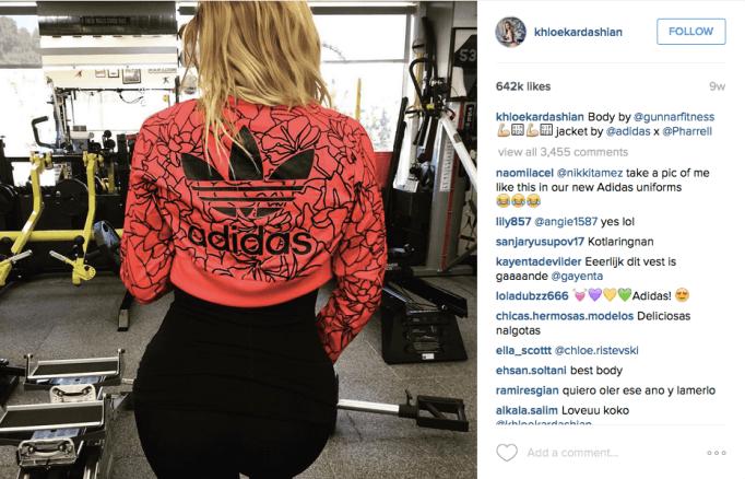 Khloe Kardashian in Adidas workout gear