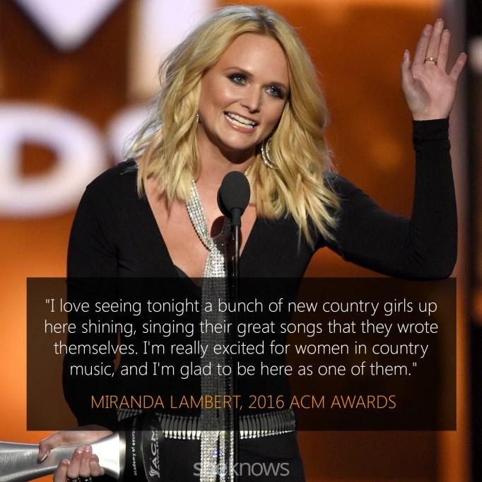 Miranda Lambert 2016 ACM Awards acceptance speech