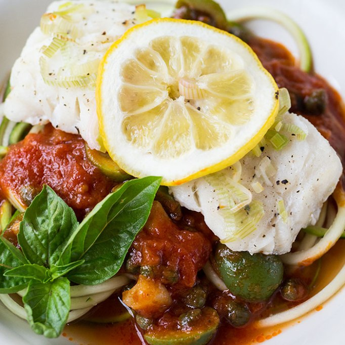Cod en Papillote with Zoodles Marinara