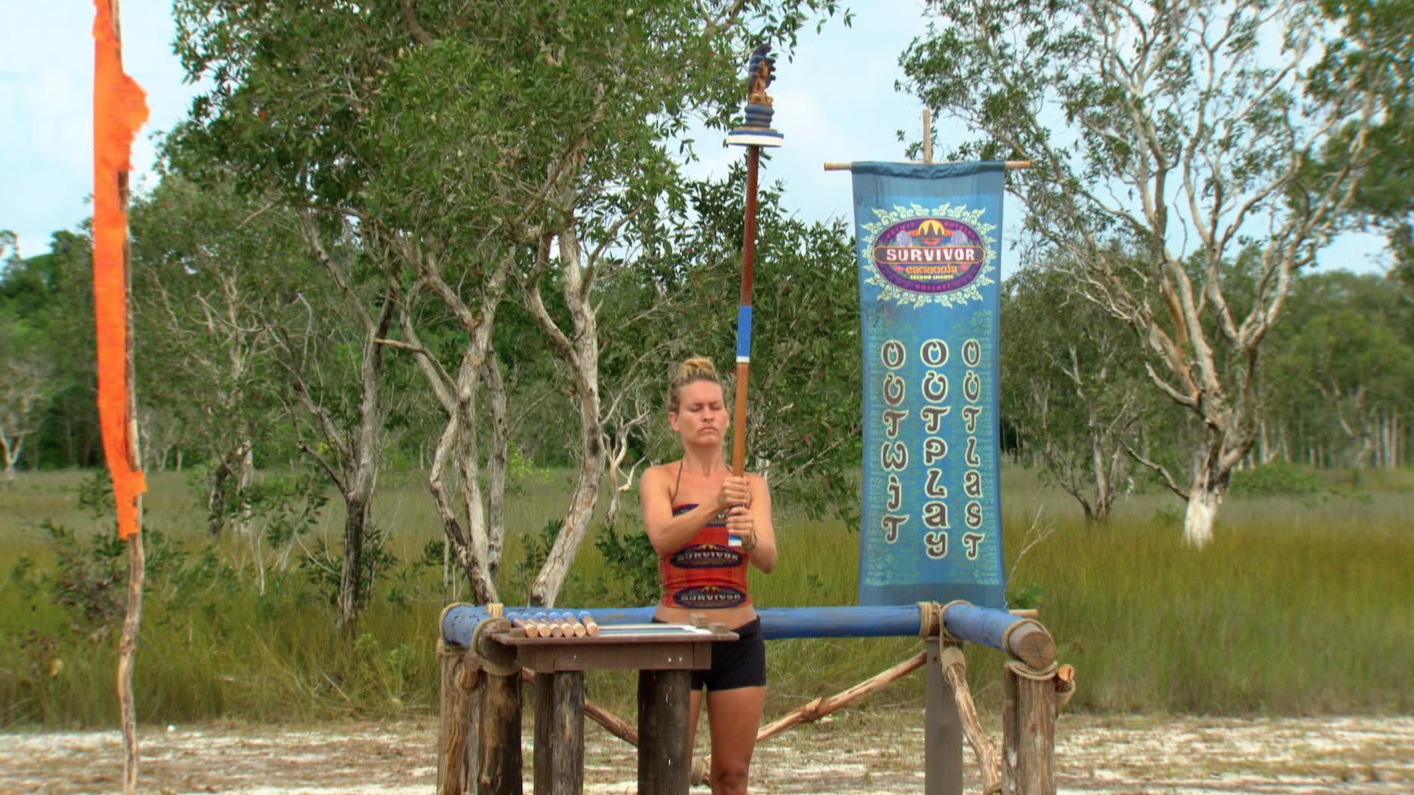 Abi-Maria Gomes competes in challenge on Survivor: Second Chance