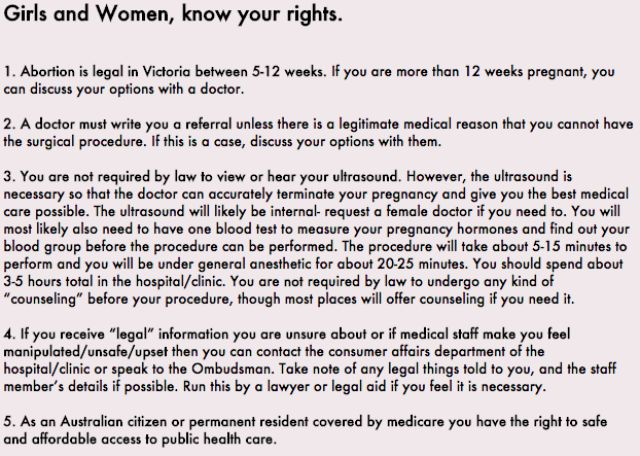 Victorian woman shares abortion rights