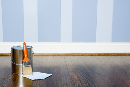 Accent wall painted with stripes