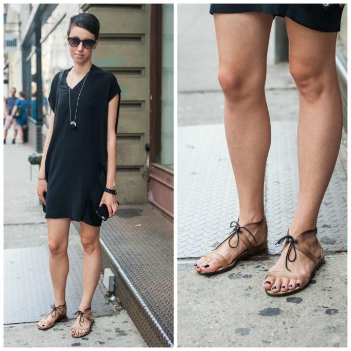 Plain lace-up sandals