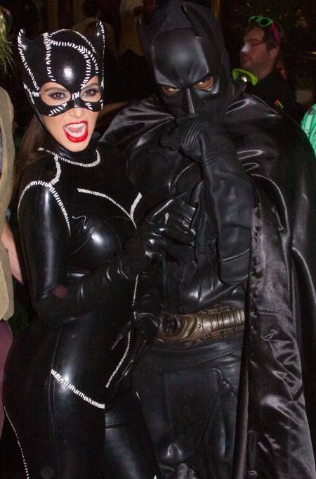 Kim Kardashian and Kanye West as Batman and Catwoman