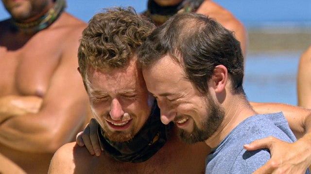 Adam Klein cries with his brother during loved ones visit on Survivor: Millennials Vs. Gen-X