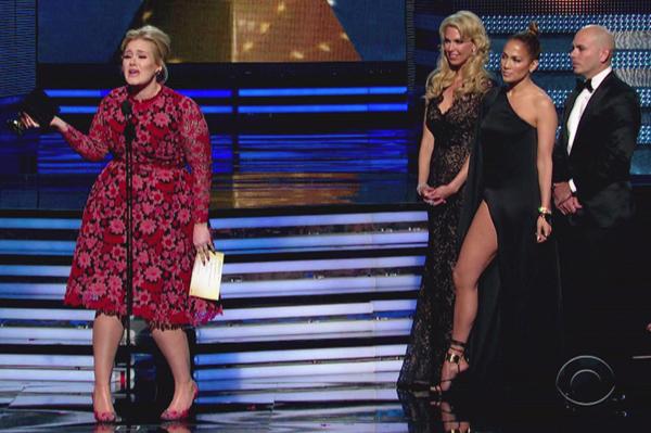 Adele Grammy stage crasher