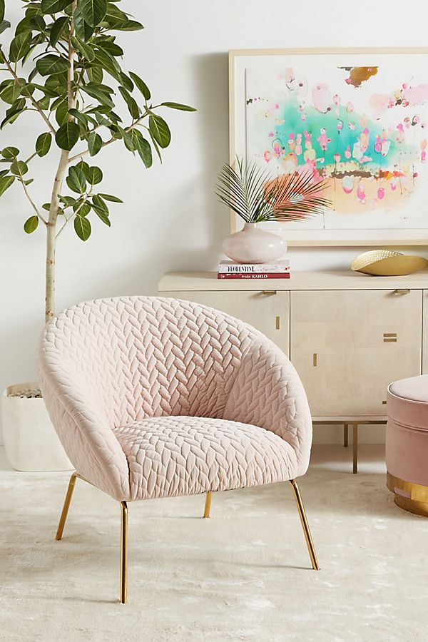 Anthropologie quilted hillside accent chair