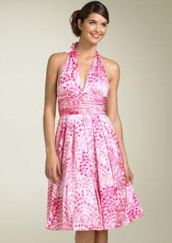 Adrianna Papell Silk Fl Halter Dress