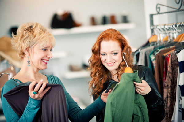 Adult daughter shoping with mother
