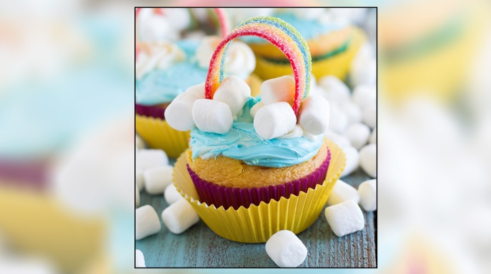End of the rainbow cupcakes are
