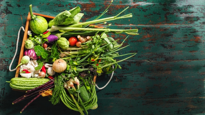 Market fresh Thai vegetables, herbs and