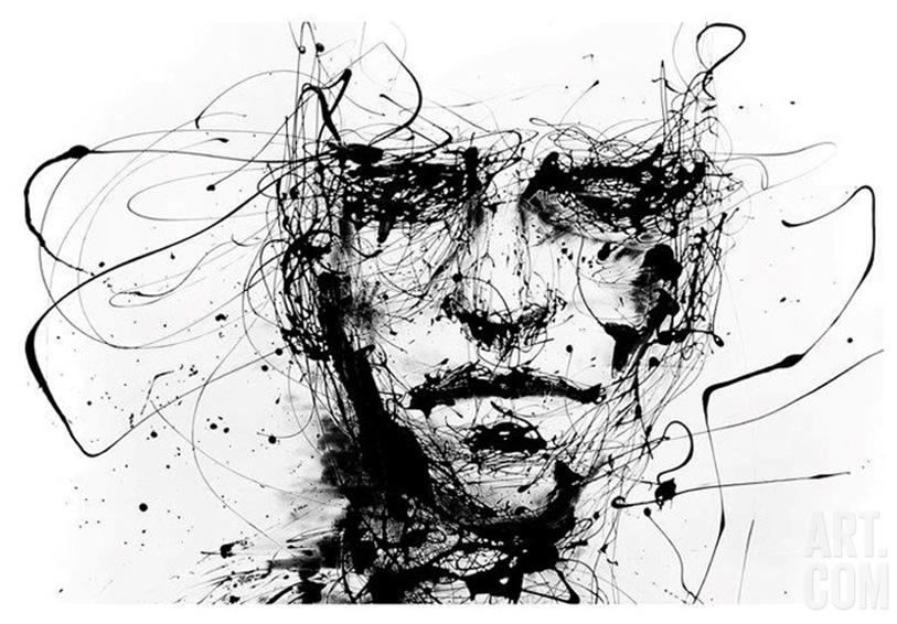Black and white graffiti print