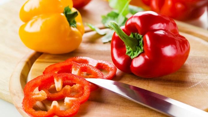 Cut up a bell pepper in