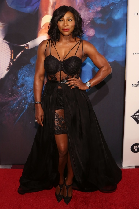 Serena Williams black lace dress