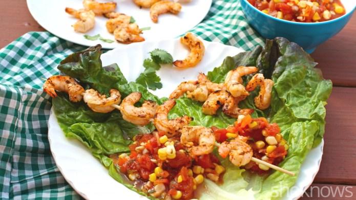Grilled shrimp lettuce wraps make a