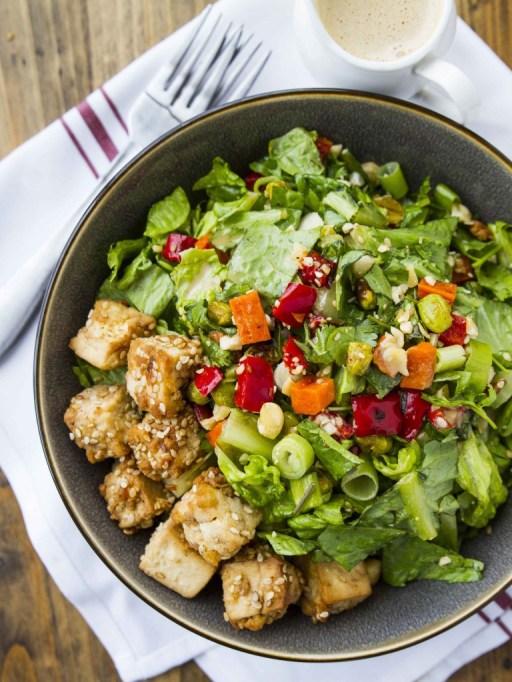 50 Easy Summer Salads: Thai Chopped Peanut Salad With Crispy Sesame Tofu | Summer Eats