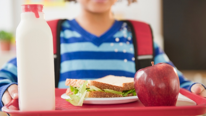 African American school girl holding lunch